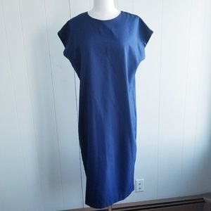 1980s M.C.S. ltd Navy Blue Poly Dress